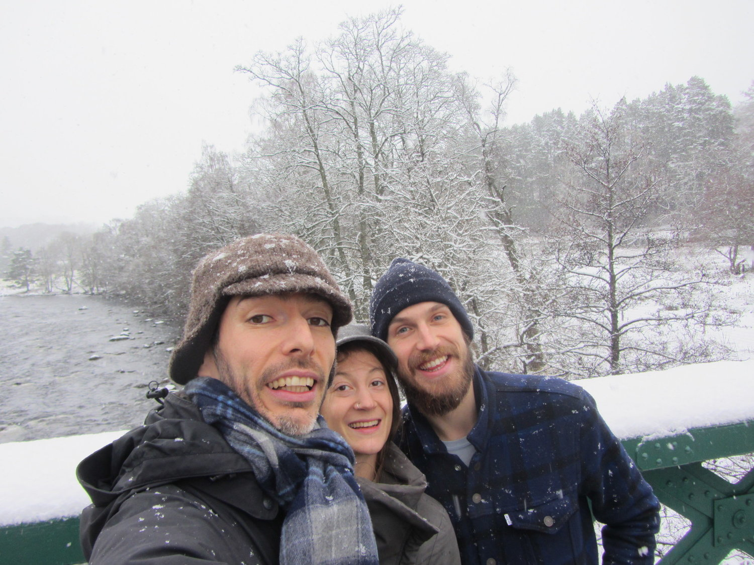 Joan, Solene and John in the snow